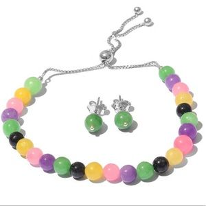 Burmese Multicolored Jade Bracelet & Earrings Set